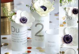 Liebevolle Tischdeko für die Hochzeit