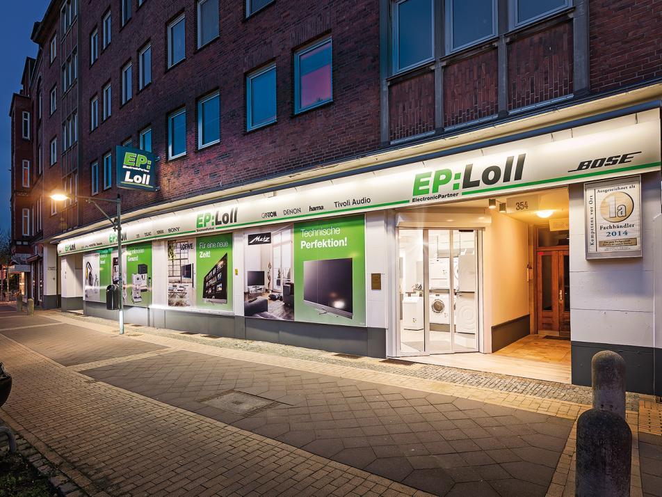 Der Elektronik-Fachhandel EP:Loll in der Holtenauer Straße 354