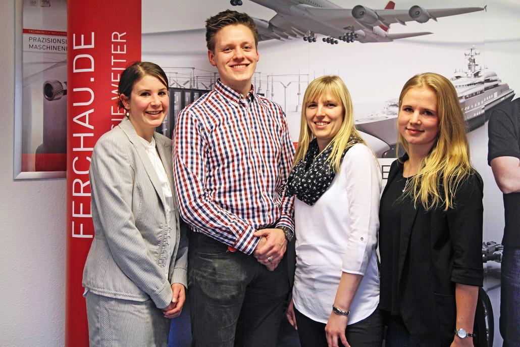 Mit FERCHAU haben Nadine Schröder, Sven Ingwersen, Katharina Koops und Sarah Krause (v. li.) einen Arbeitgeber gefunden, der ihre Potenziale bestmöglich fördert