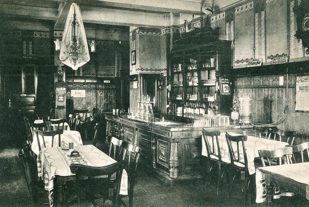Eine Postkarte, die die Räumlichkeitenim Jahr 1916 zeigt