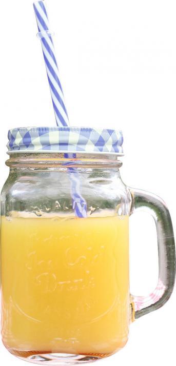 Trinkglas mit Deckel und Strohhalm