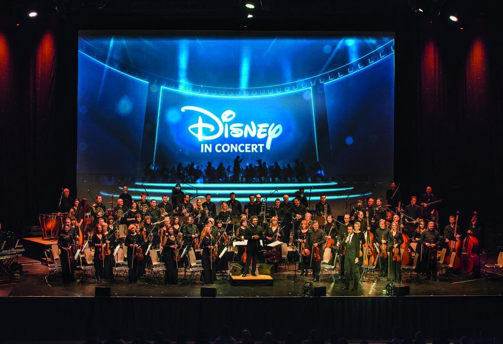 Das Hollywood-Sound-Orchester wird mit denStarsolisten die beliebtesten Disney Songs aufdie Bühne der Sparkassen-Arena-Kiel bringen