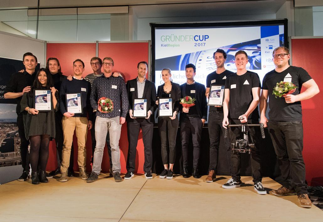 Kiels glückliche Gründer: BasicButler, Rankwerk, Tamanguu, Vulpés Electronics, 3Komma3 (v. li.)