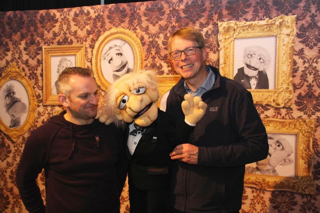 Markus Till (li.) traf Jörg Jará (re.) und dessen Puppe Herrn Jensen
