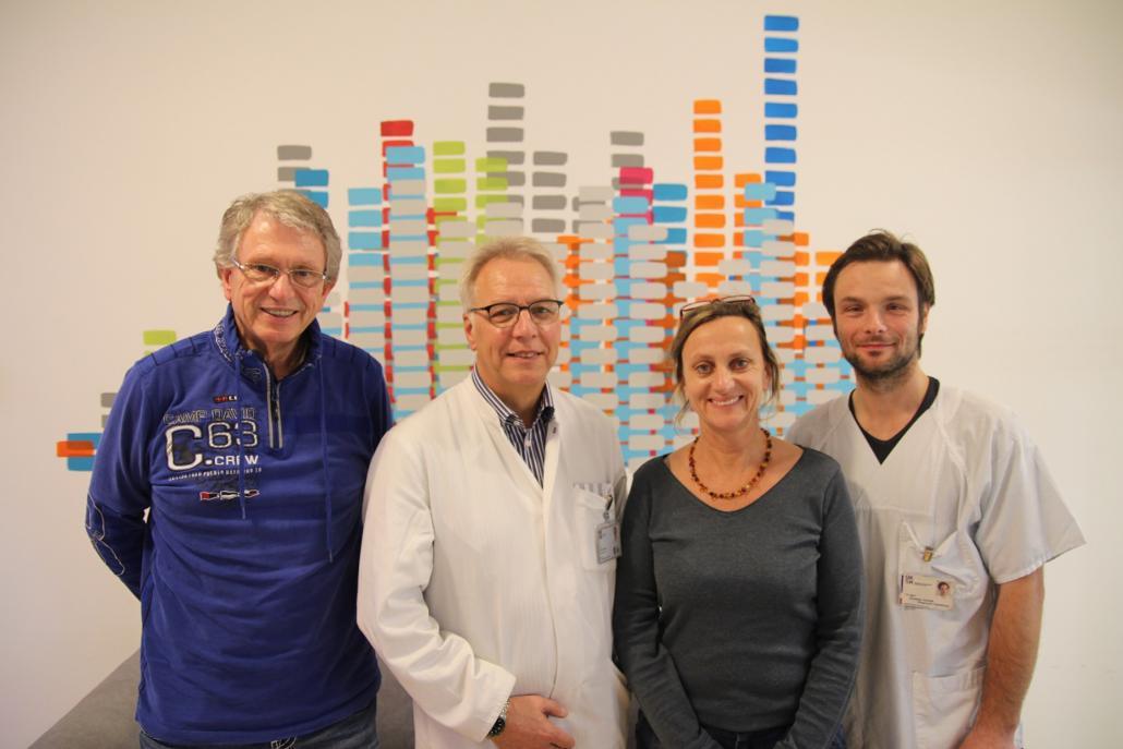Dieter Schmiedel, Vorstandsmitglied, Prof. Dr. med. Dieter Siebrecht, 2. Vorsitzender, Martina Gripp, Kunsttherapeutin, Christian Graviat, Schriftführer (v. li.)