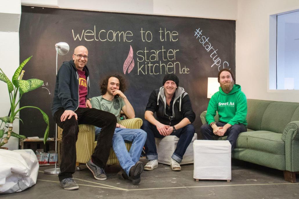 Die Macher hinter der Groundkeeper-App: Jens Klimmek, Pascal Floride, Marco Münnich und Jan Henrick Stephan (v. li)