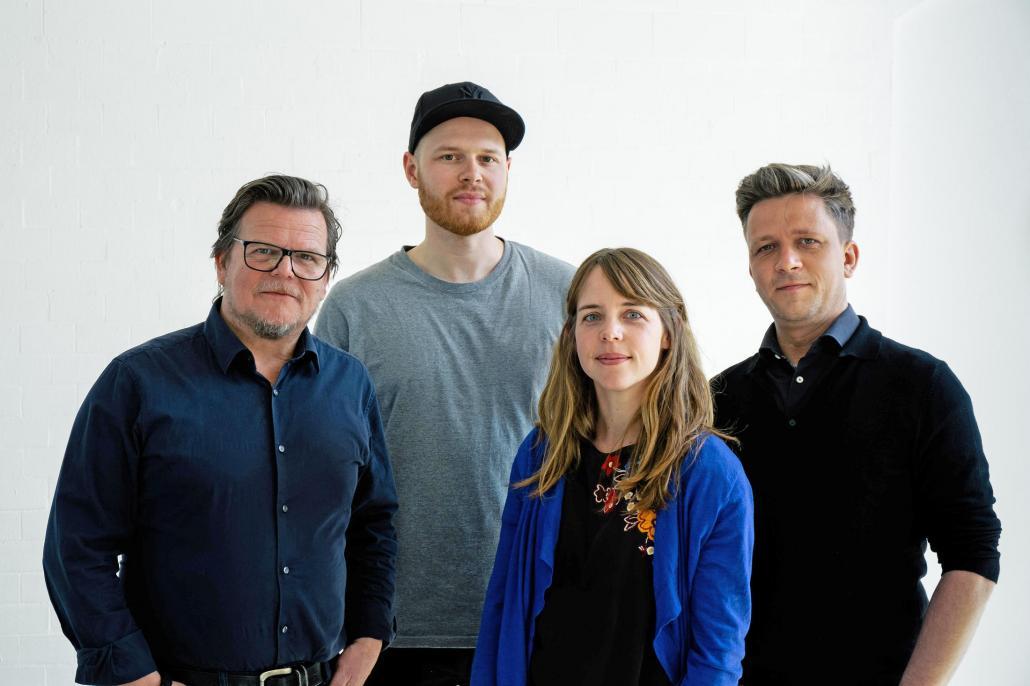 Das Team des SciComLabs: Tom Duscher, Manuel Reitz, Susanne Landis und Konrad Rappaport (v. li.)