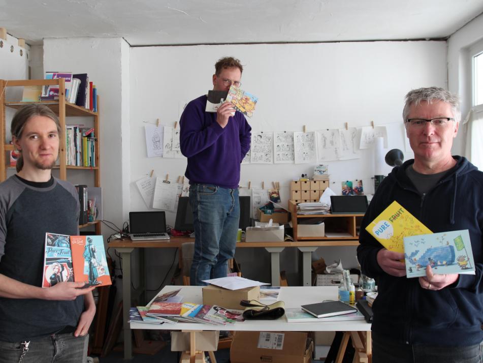 """Tim Eckhorst, Gregor Hinz und Volker Sponholz (v. li.) veröffentlichen seit zehn Jahren Comics als Kollektiv """"Pure Fruit""""."""