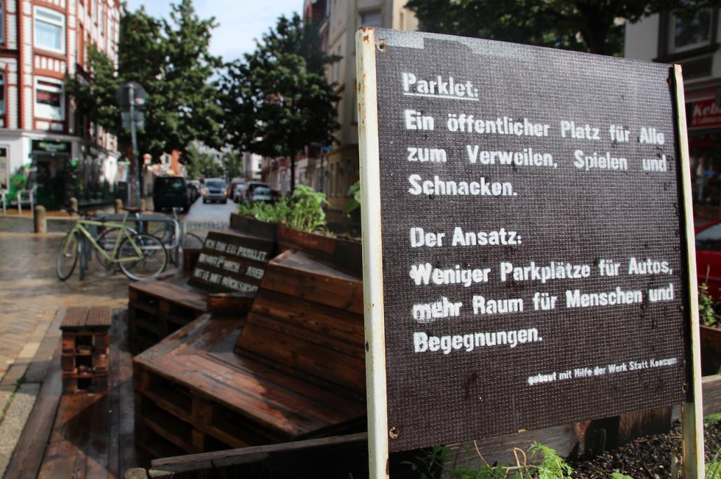 Am 1. Kieler Parklet Tages wirbt Kiel-Gaarden für mehr autofreie Bereiche in dem Stadtteil.