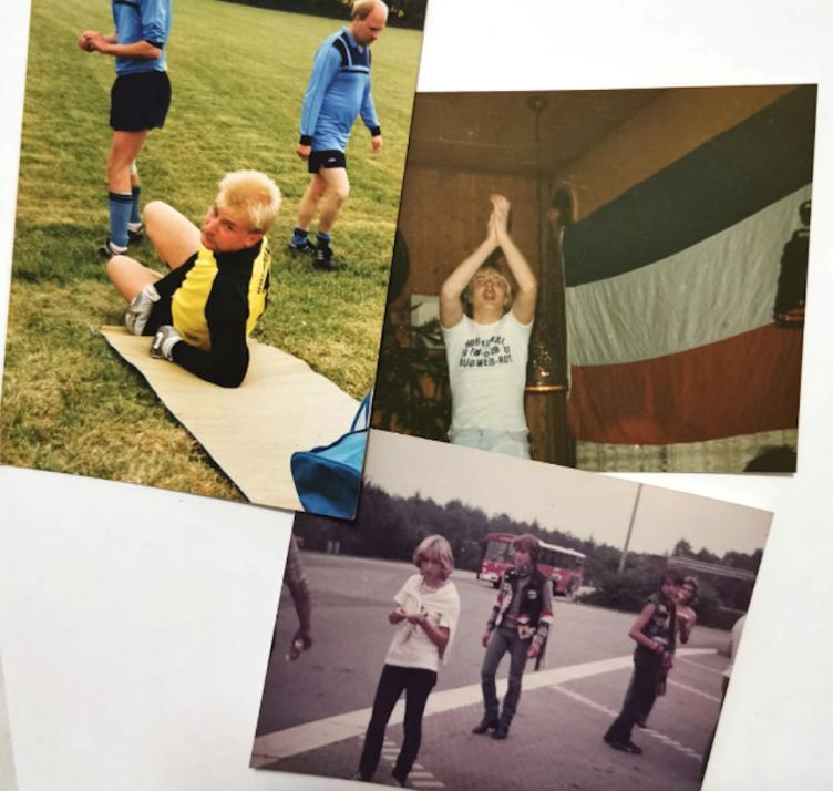 """Gut befreundet: Schon seit gemeinsamen Jugendfußballtagen kennen sich Boyens und """"Humpel"""" (oben links) vom Fanclub """"Die Elite""""."""