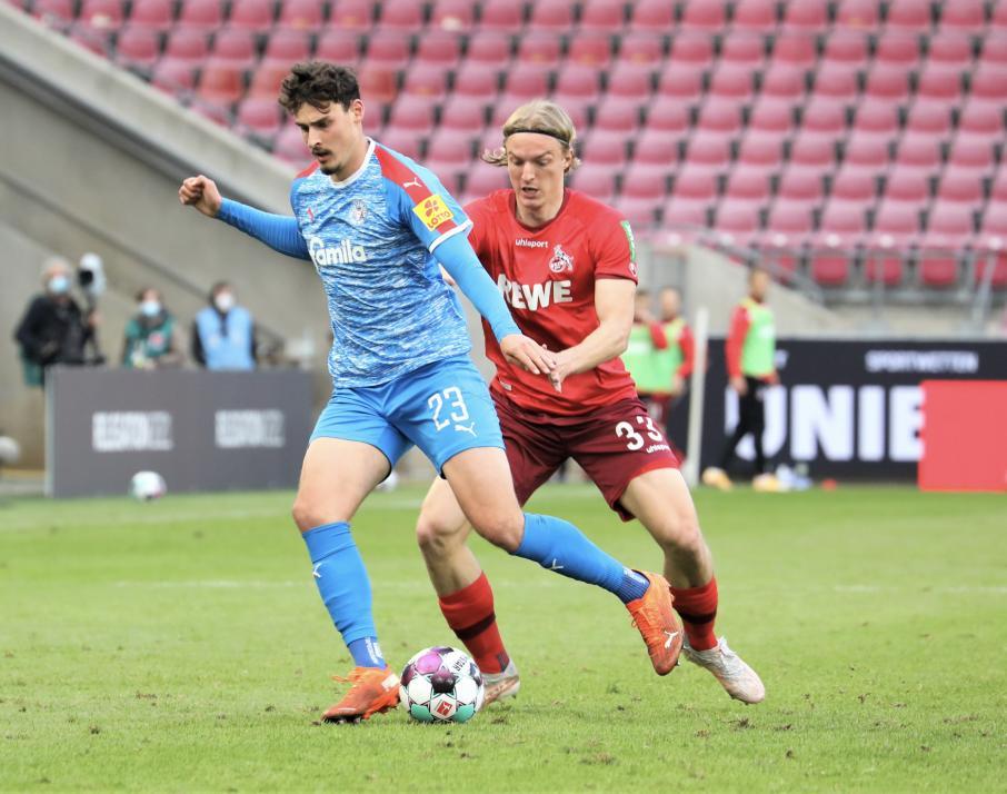 Janni Serra lief gegen den 1. FC Köln das vorerst letzte Mal im Störche-Trikot auf. Der Stürmer geht geht in der kommenden Saison für Arminia Bielefeld auf Torejagd.