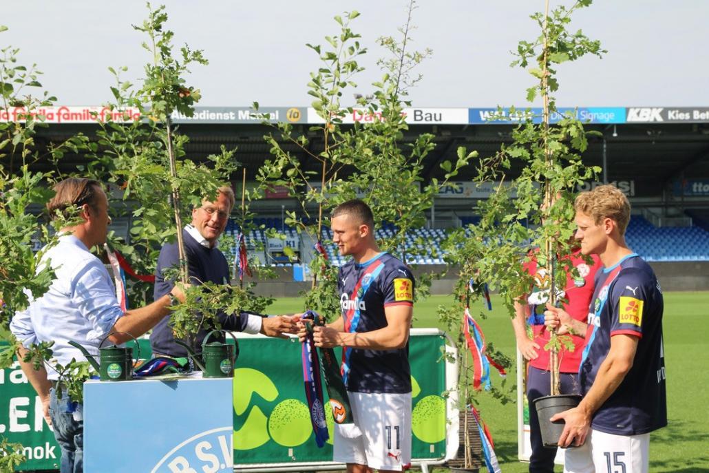 Im Holstein Stadion wurden symbolisch Erlen und Eichen übergeben.