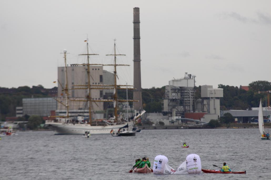 Einige Umweltaktivist*innen protestierten gegen das auf dem Schiff verlegte Teak-Holz aus Myanmar.