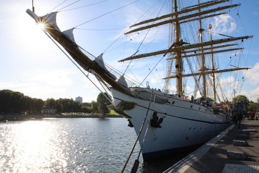Die Gorch Forck liegt wieder an ihrer Mole im Kieler Heimathafen