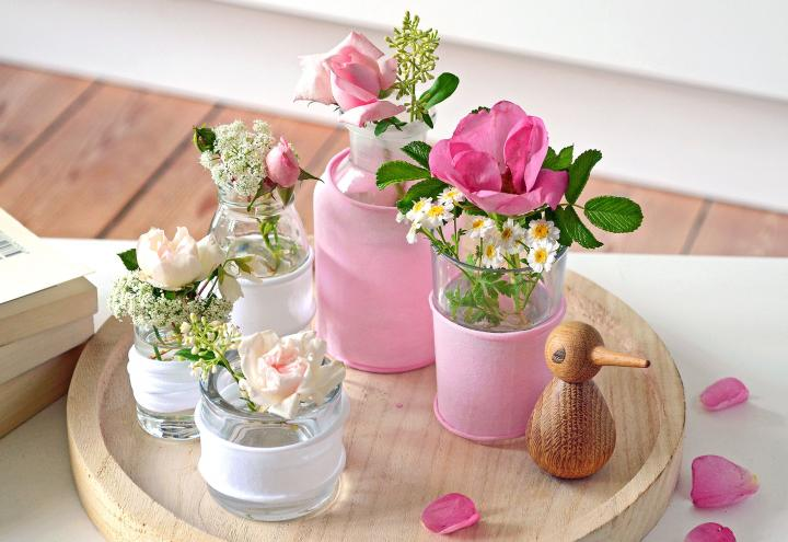 Selbstgemachte Seidenstrumpf-Vasen