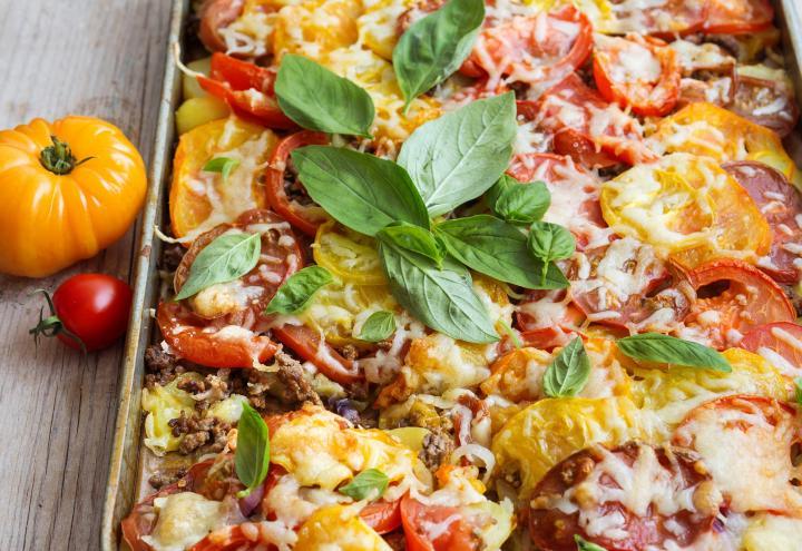 Rezept: Kartoffel-Tomaten-Auflauf mit Hackfleisch