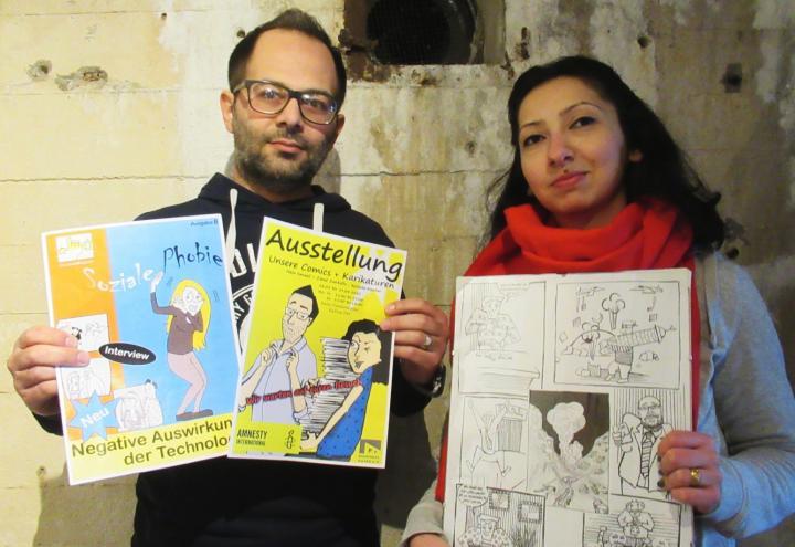 Zwei syrische Comiczeichner im Flandernbunker
